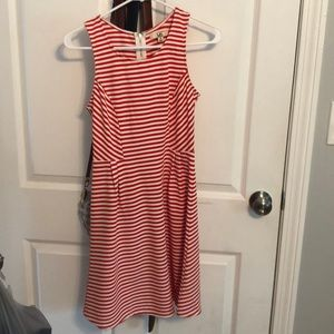 Red and white stripe midi sun dress